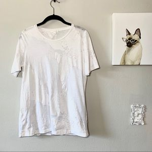 COS White Burnout Short Sleeved Tee